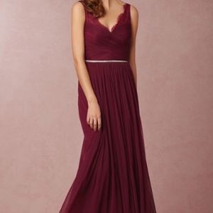 BLDHN Hitherto Fleur Lace Bridesmaid Dress in Wine
